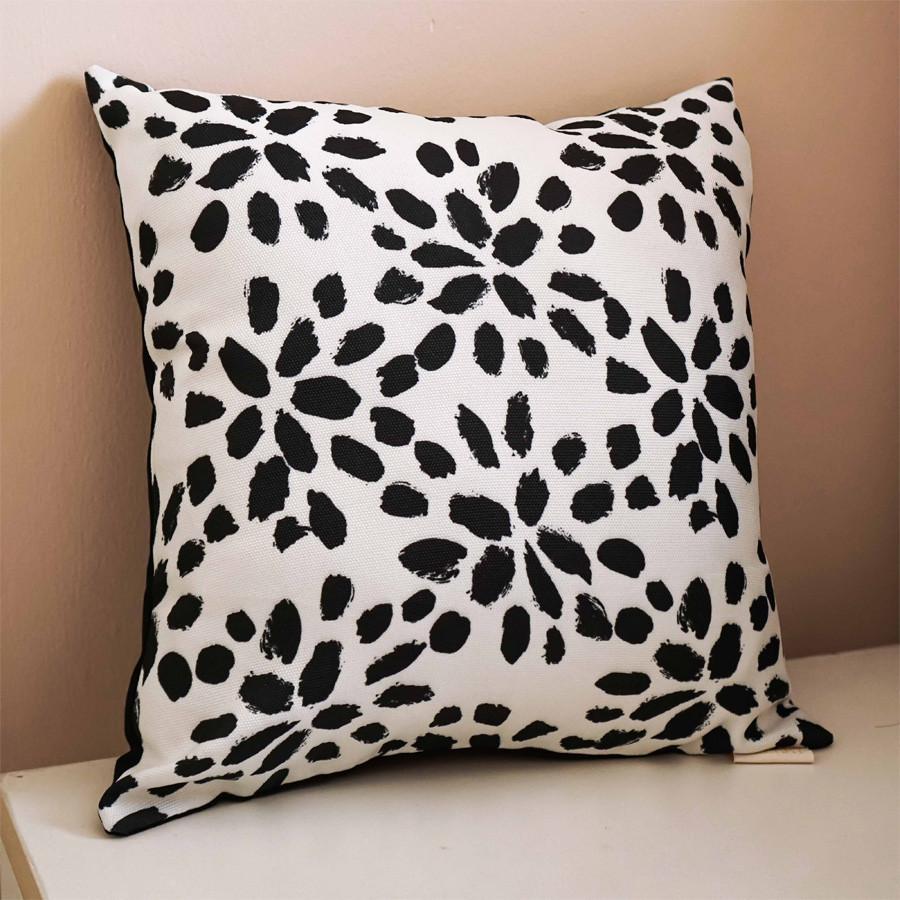 Black Floral Cushion 40 x 40