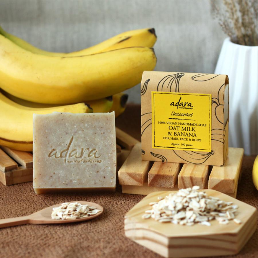 Adara Organic Handmade Oat Milk & Banana Soap - Unscented
