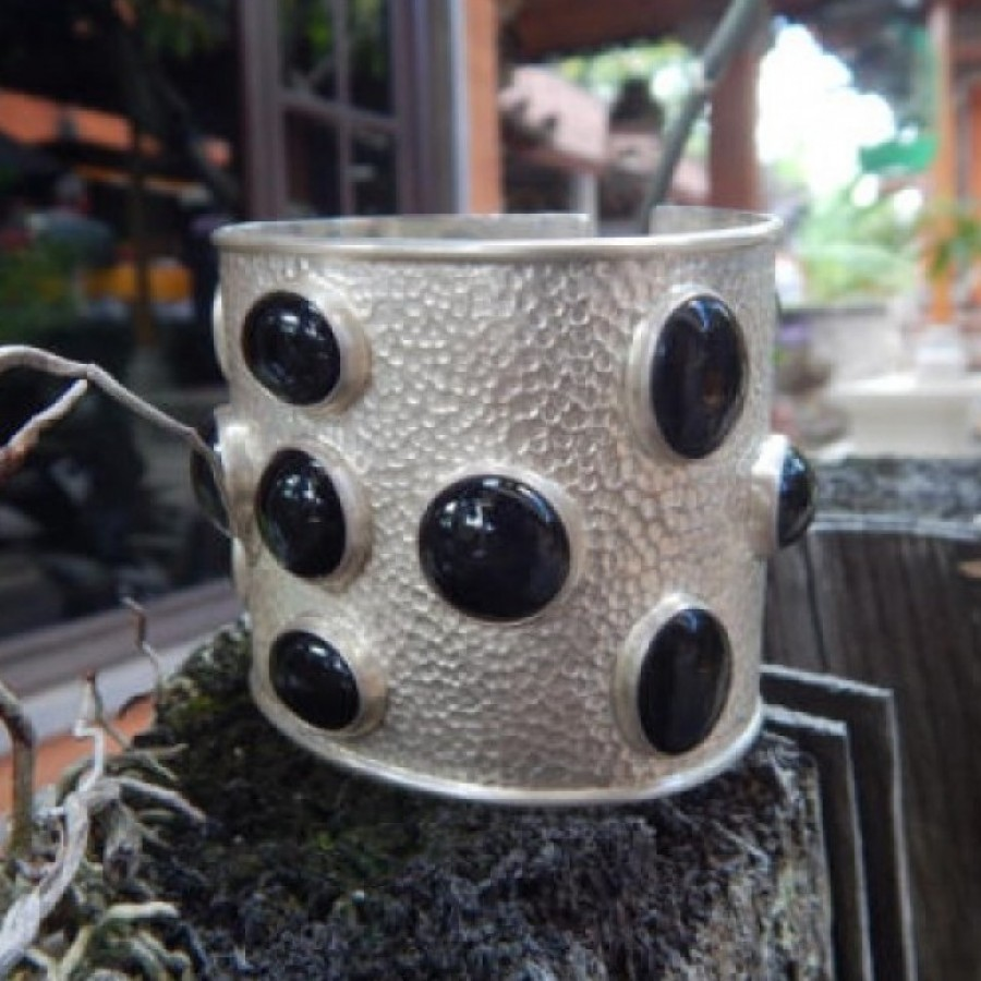 Gelang perak besar batu black onyx 100052