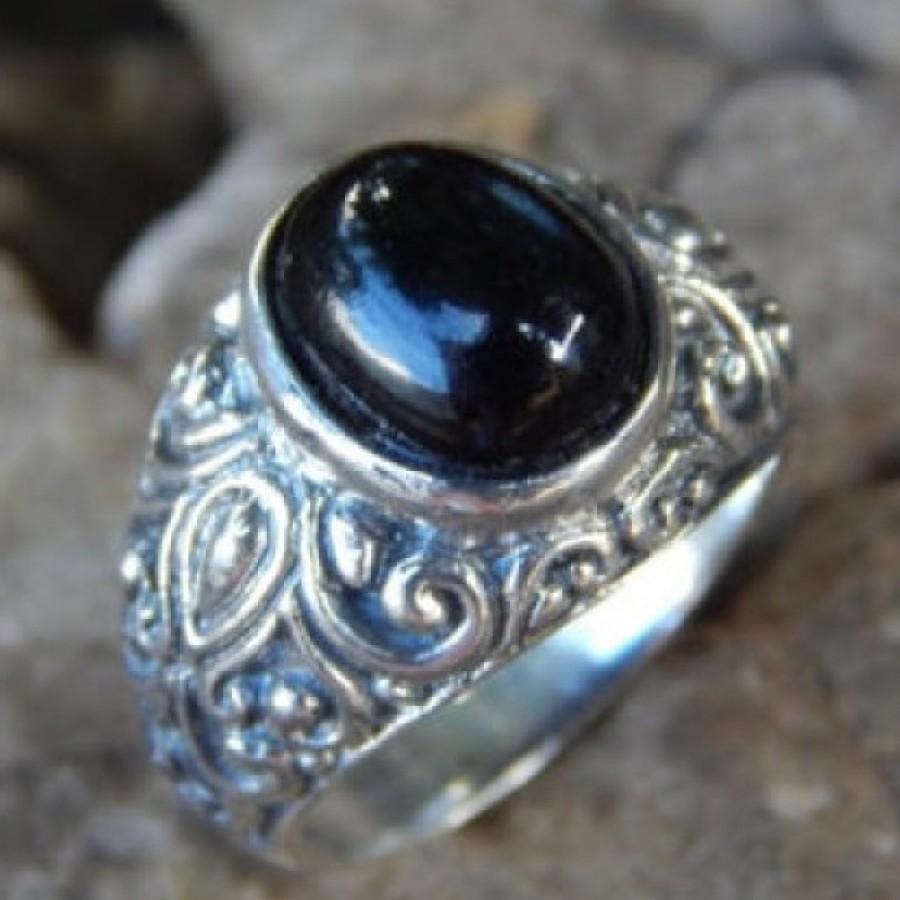 Cincin Perak Motif Ukiran Patra Bun Batu Black Star 16842 Ku Ka Pita