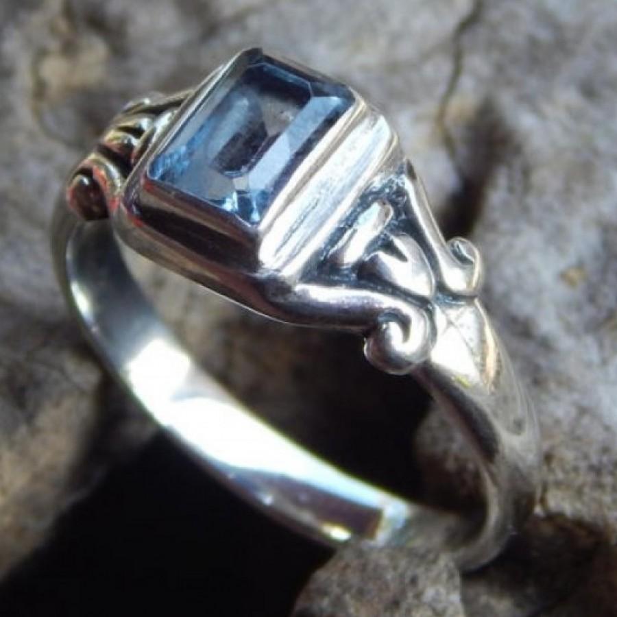Cincin Perak Batu Blue Topaz 18204