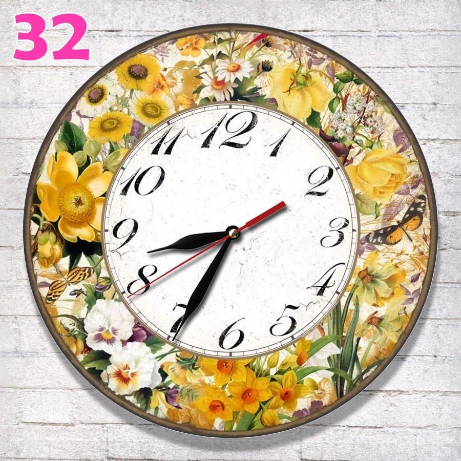 # 32 Jam dinding Retro Nuansa Flora Hiasan Dinding Motif Bunga