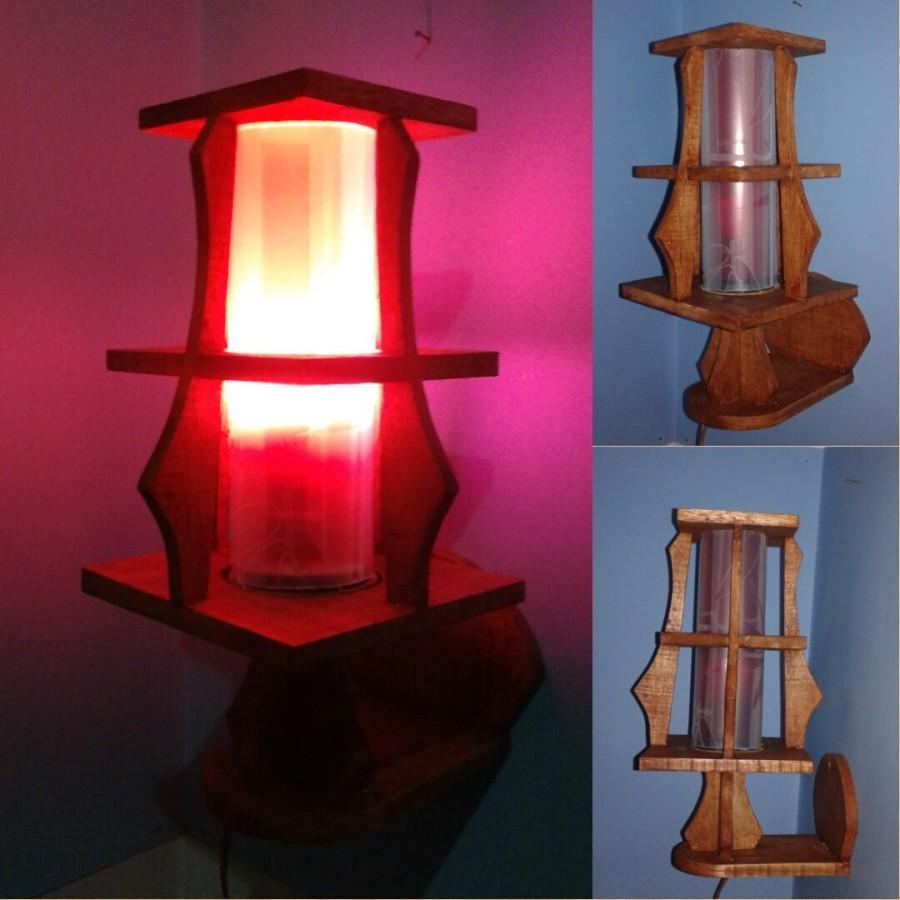 Lampu Dinding / Lampu Tidur Hias / Lampu Kayu KOTAK 02 Warna MERAH / Omah Lampu Rawalo