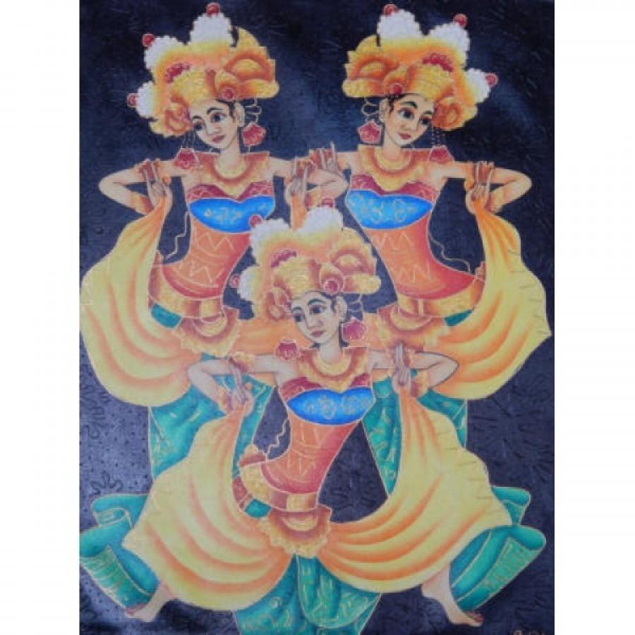 Lukisan tradisional motif 3 rejang bali 58650