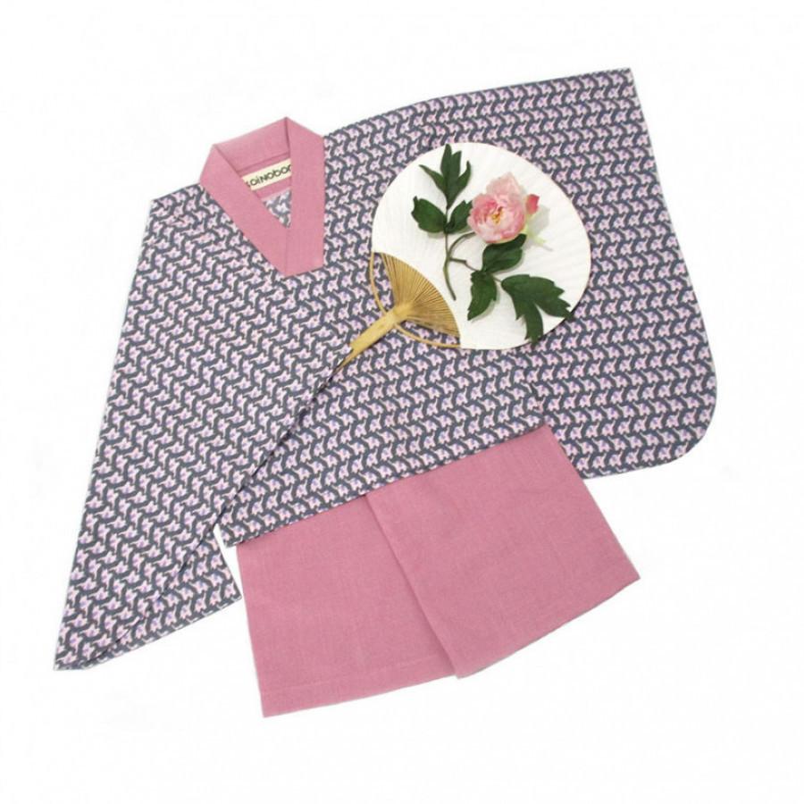 Koinobori Pink Elephant Instant Kimono Setelan Anak Wanita