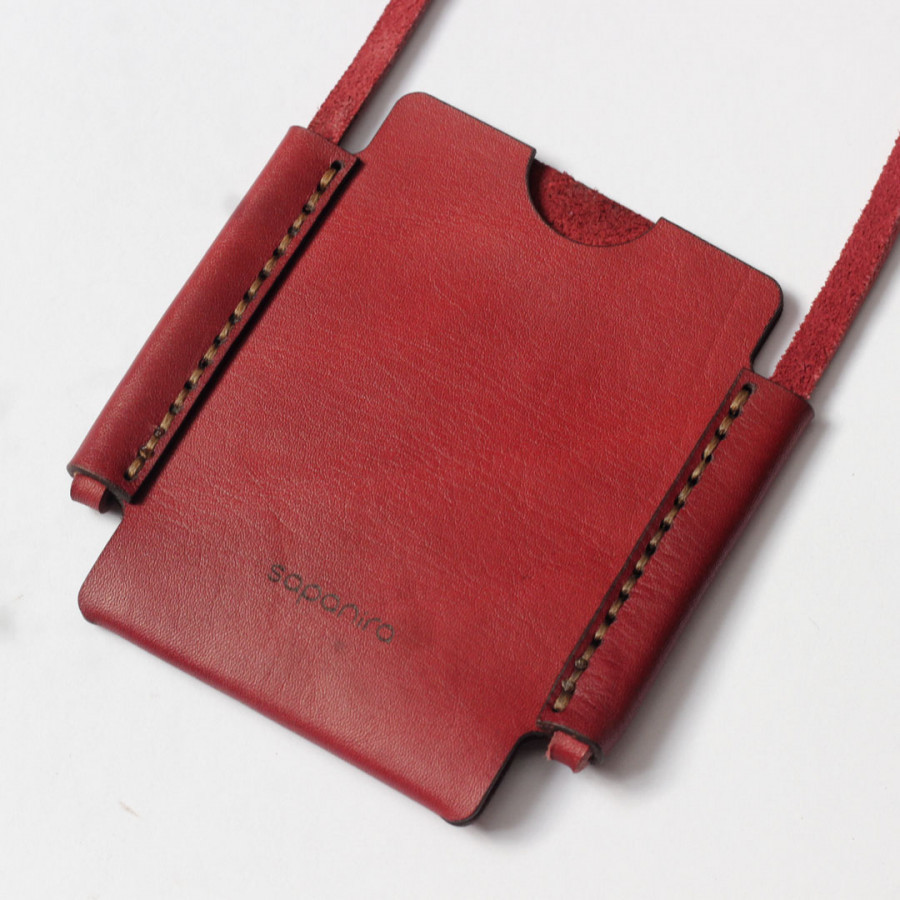 ID Card Holder - Red/Maroon