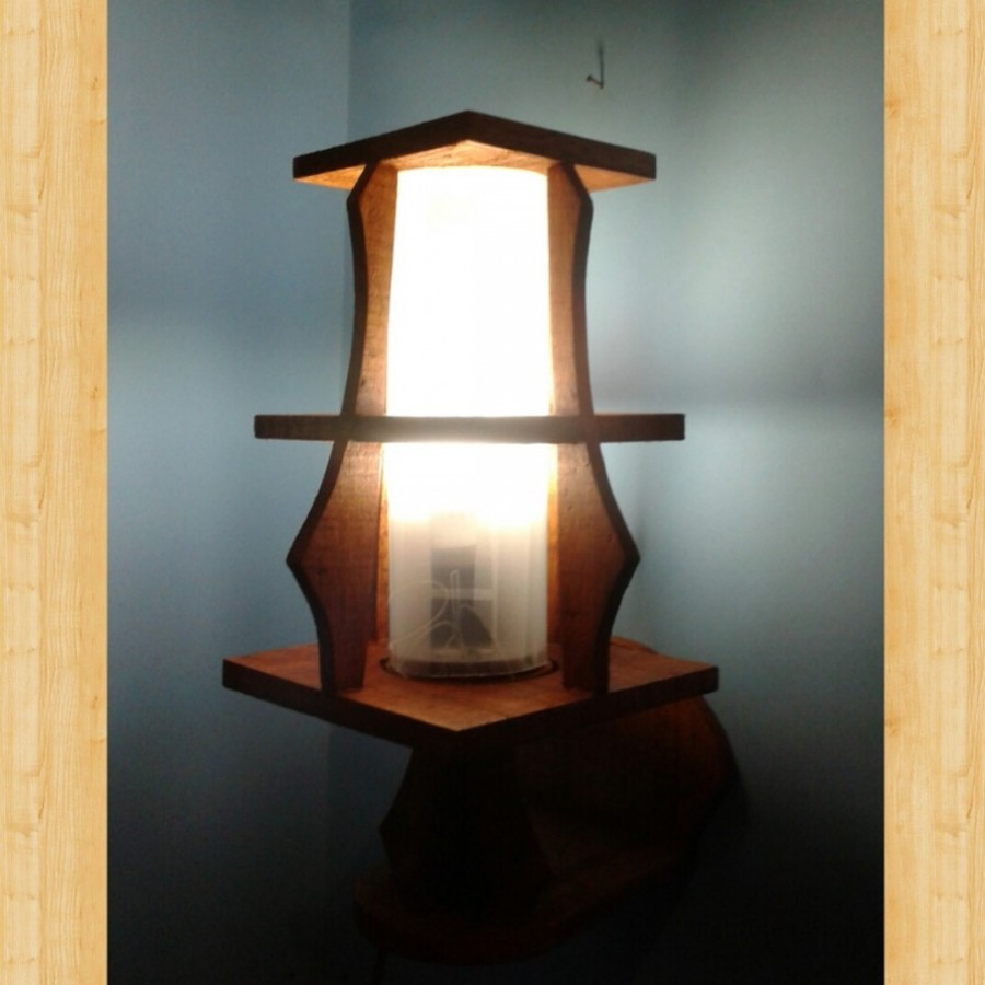 Lampu Dinding / Lampu Tidur Hias / Lampu Kayu KOTAK 02 Warna PUTIH / Omah Lampu Rawalo