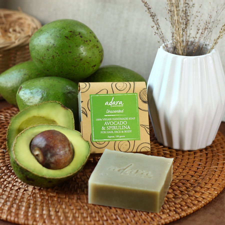 Adara Organic Handmade Avocado & Spirulina Soap - Unscented