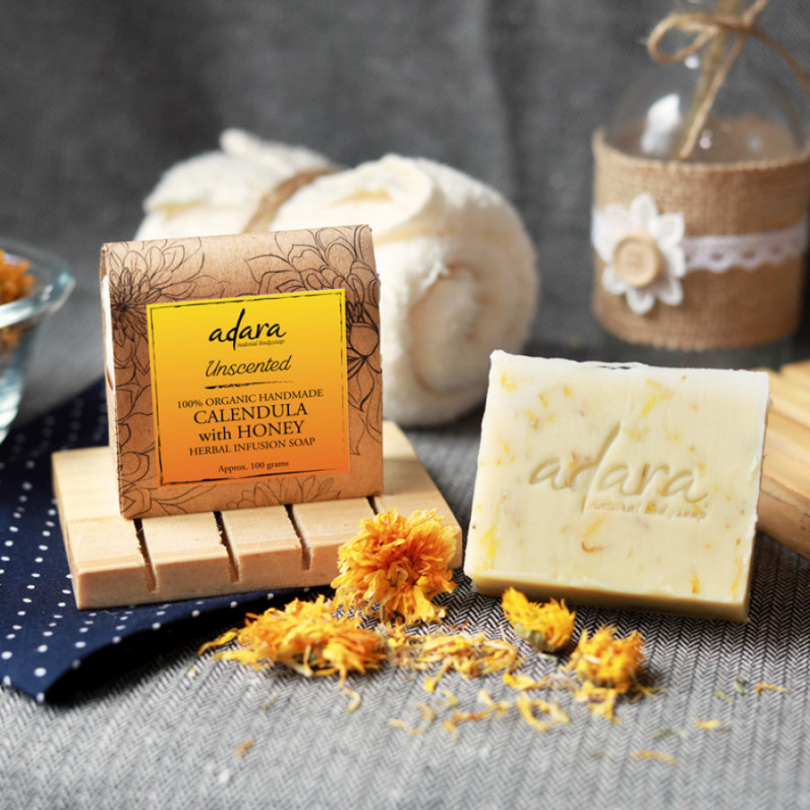 Adara Organic Calendula with Honey Soap - Unscented