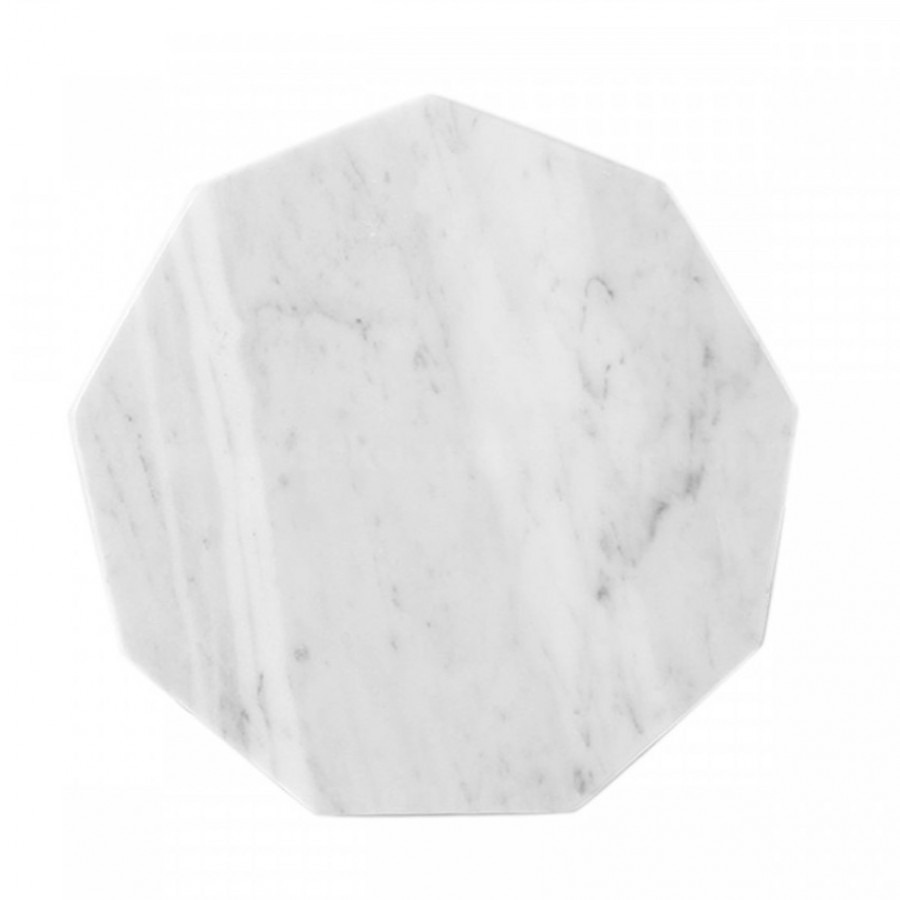 Octagon White Moonstone Marble D20