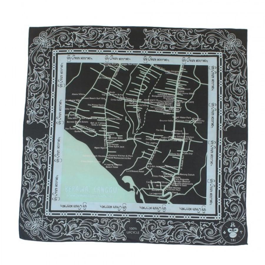 Sapu Tangan/Slayer/Bandana/Handkerchief Peta Berawa - Bali Daur Ulang untuk Hutan