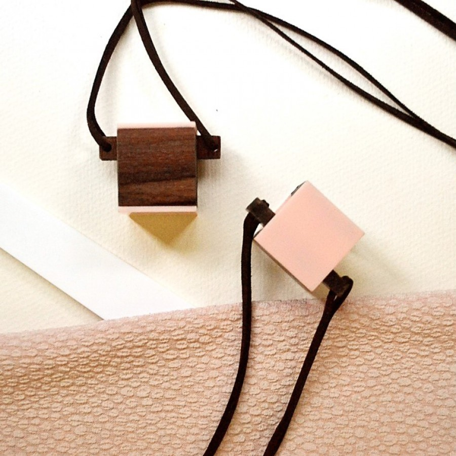 Cube Wooden Necklace (I)