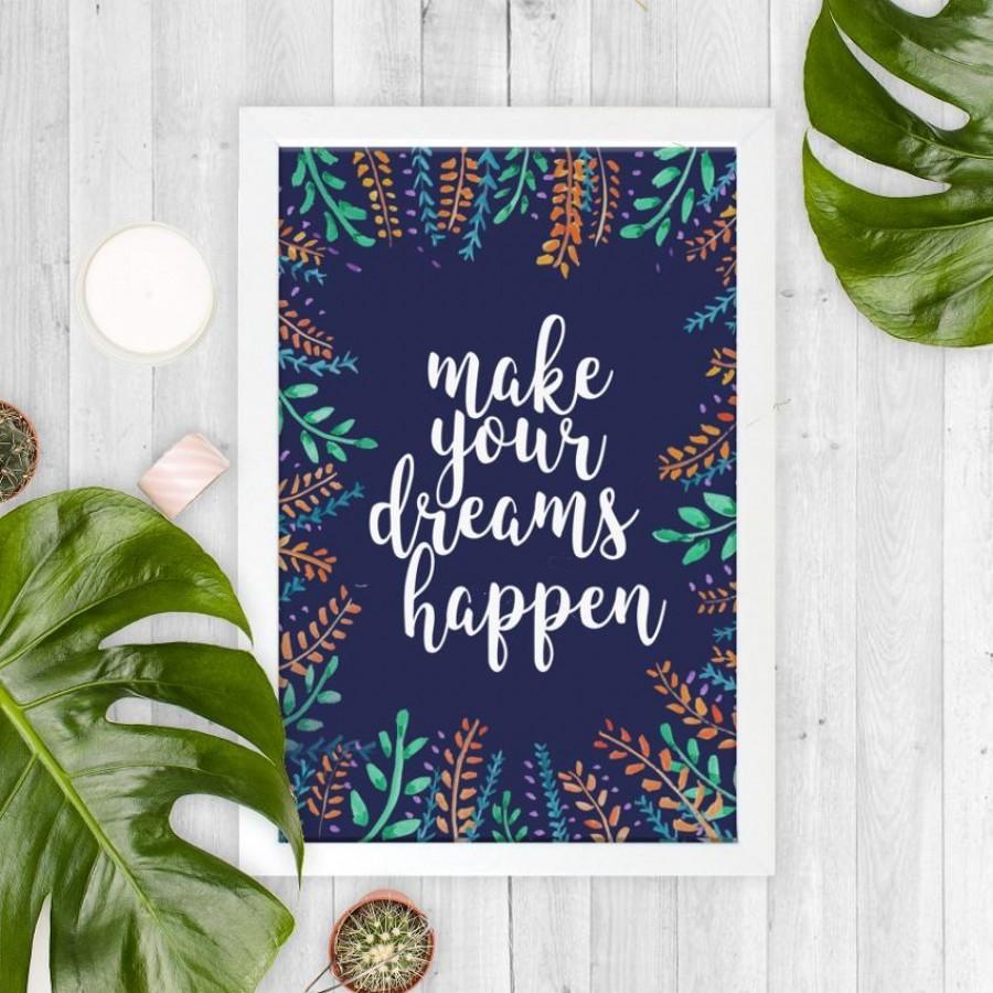 Make Your Dreams Happen 20x30cm Wall Decor Hiasan Dinding