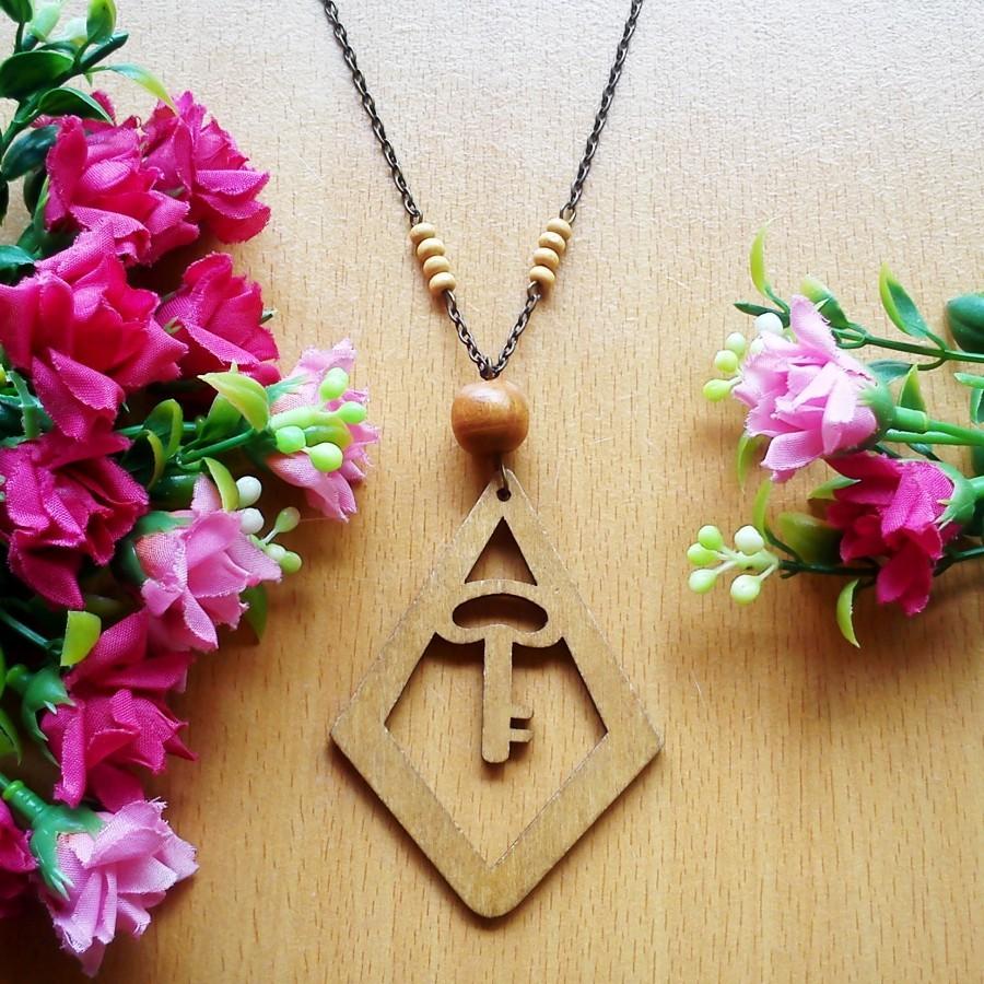 Kalung Geometric Wooden Kayu