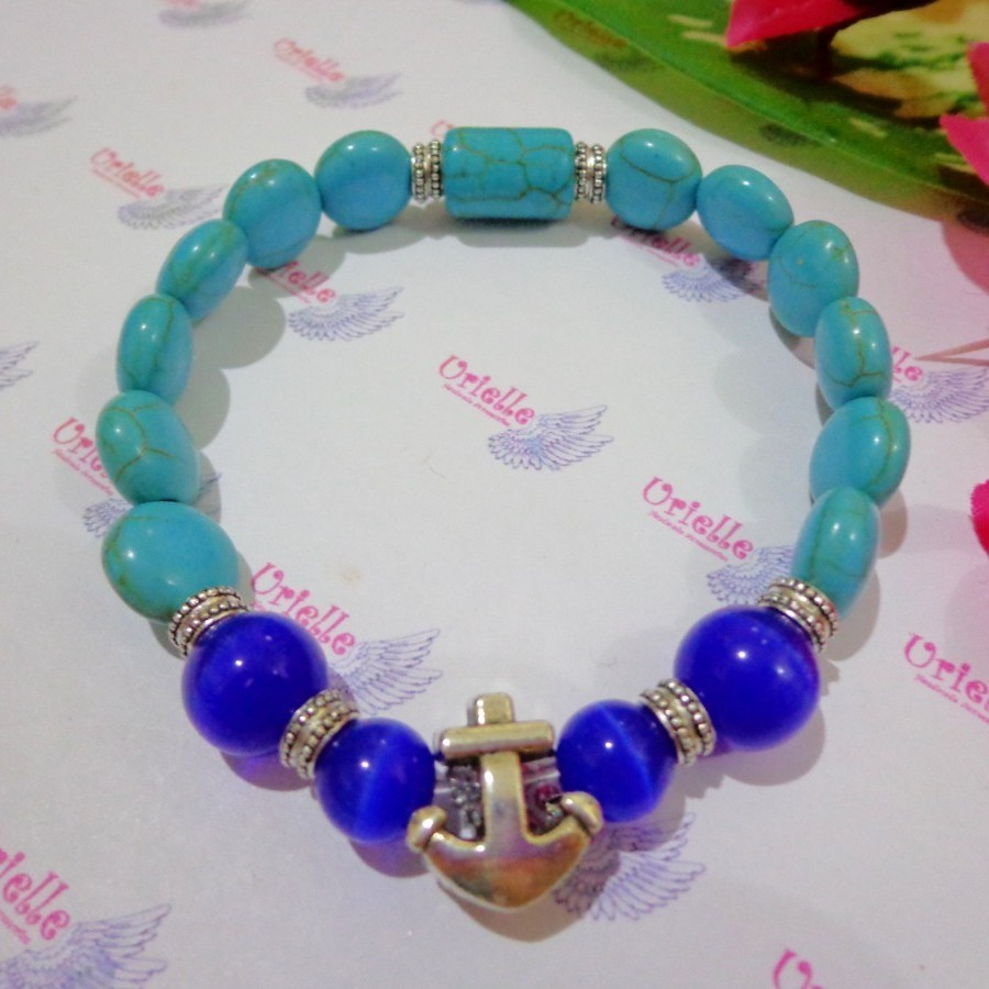 Gelang AB30 Batu Turqouis, Blue Cat Eye Skt Anchor
