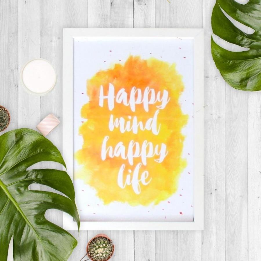 Happy mind happy life 20x30cm Wall Decor Hiasan Dinding