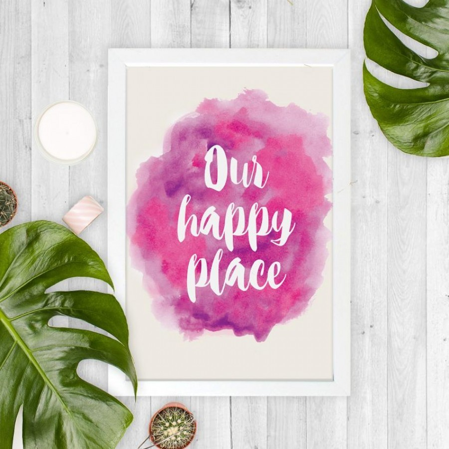 Our Happy Place 20x30cm Wall Decor Hiasan Dinding