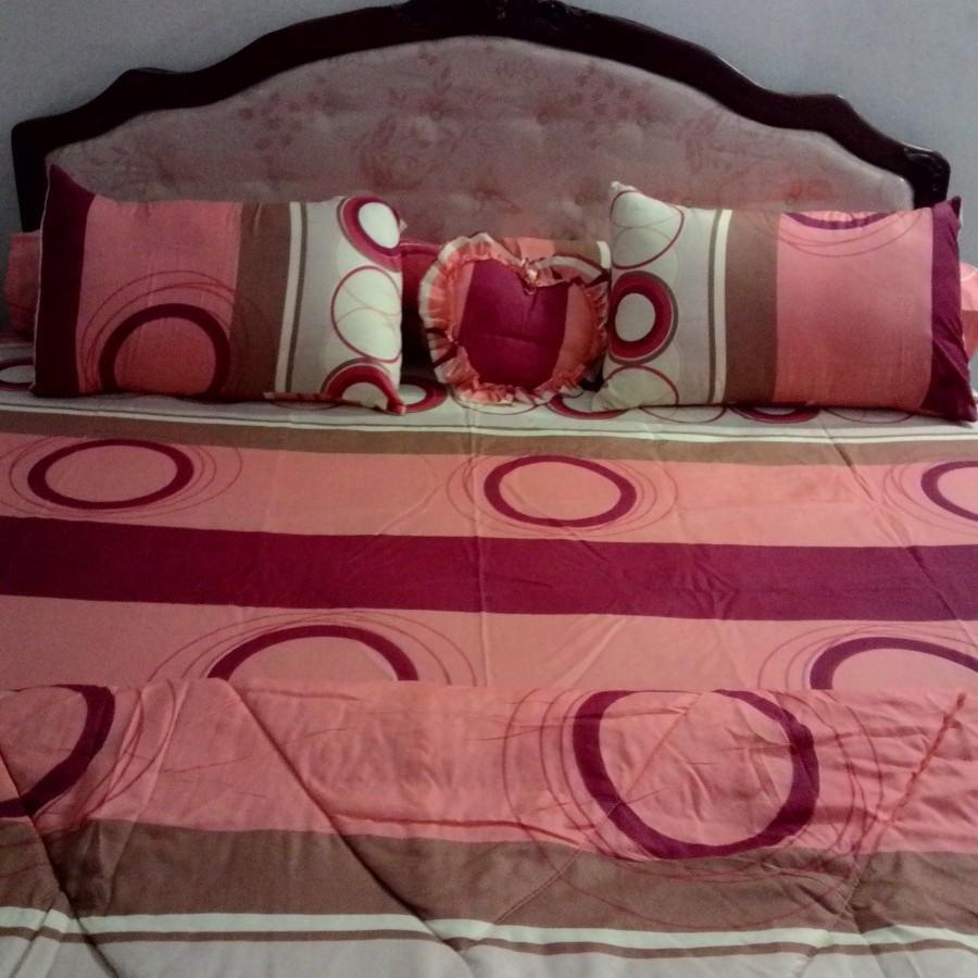 Bedcover set Cintaku Rings 02 - Kombinasi orange kuning cokelat uk.180 cm