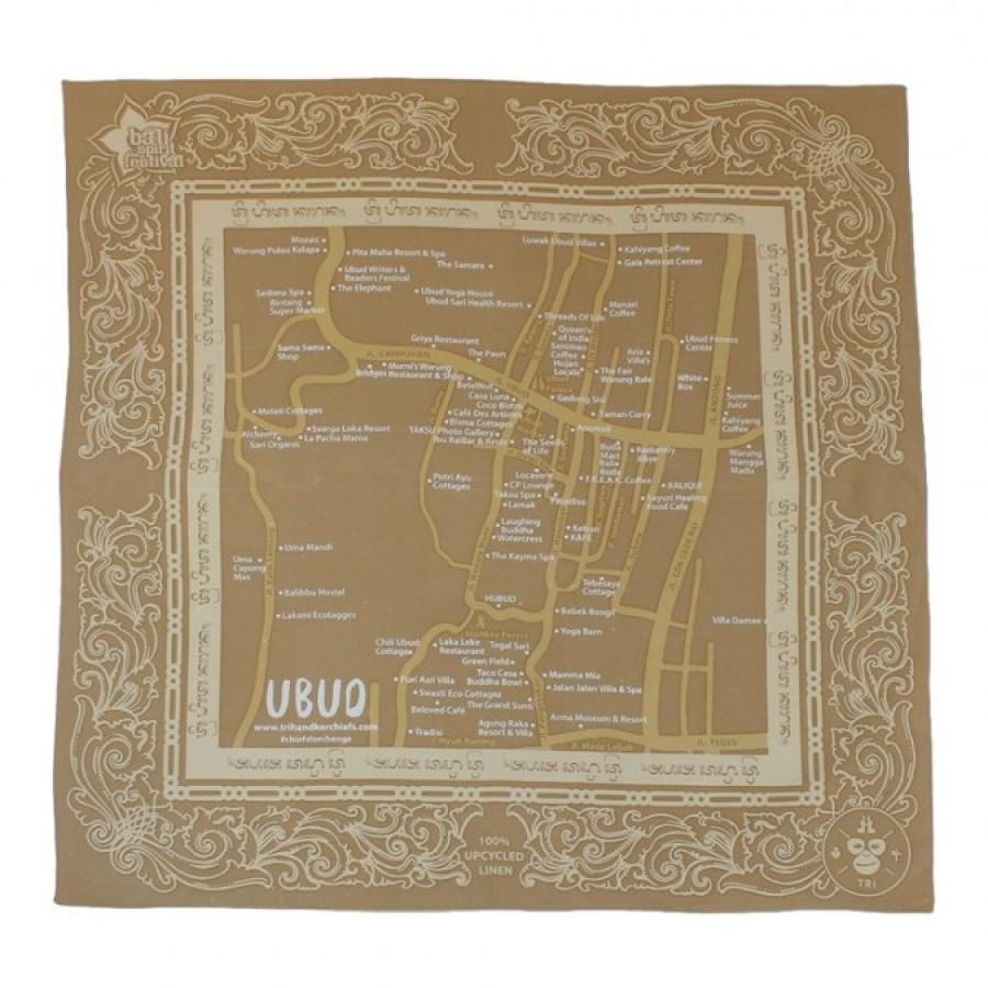 Sapu Tangan/Slayer/Bandana/Handkerchief Peta Ubud Bali untuk Hutan (Warna Pastel)