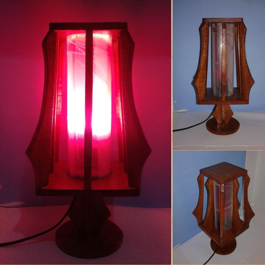 Lampu meja Lampu tidur hias Lampu kayu KOTAK variant warna MERAH