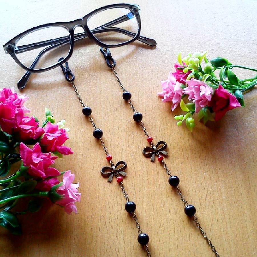 Rantai Kacamata Black Ribbon