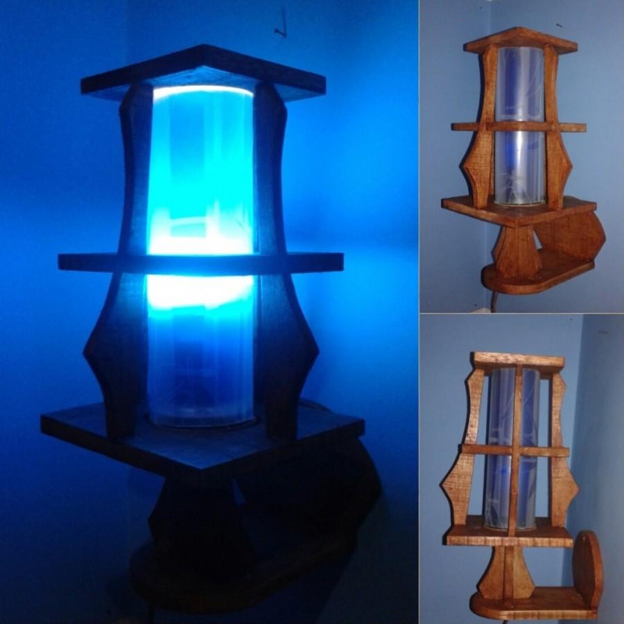 Lampu Dinding / Lampu Tidur Hias / Lampu Kayu KOTAK 02 Warna BIRU / Omah Lampu Rawalo
