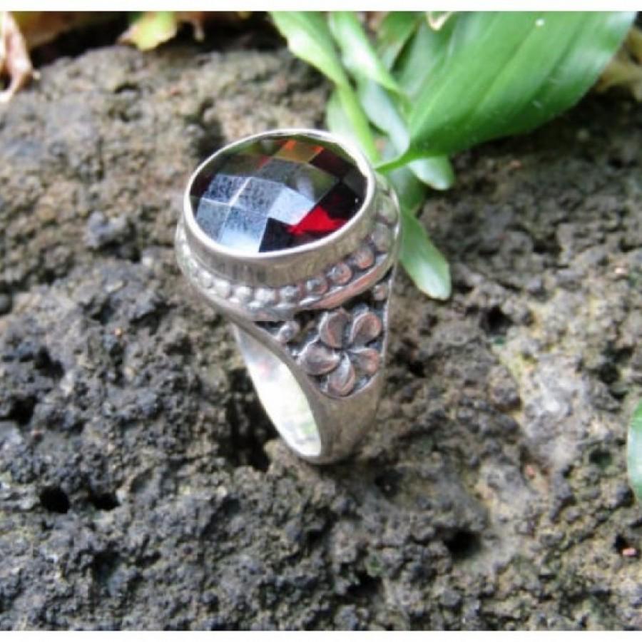 Cincin perak motif ukiran bunga batu garnet 100268