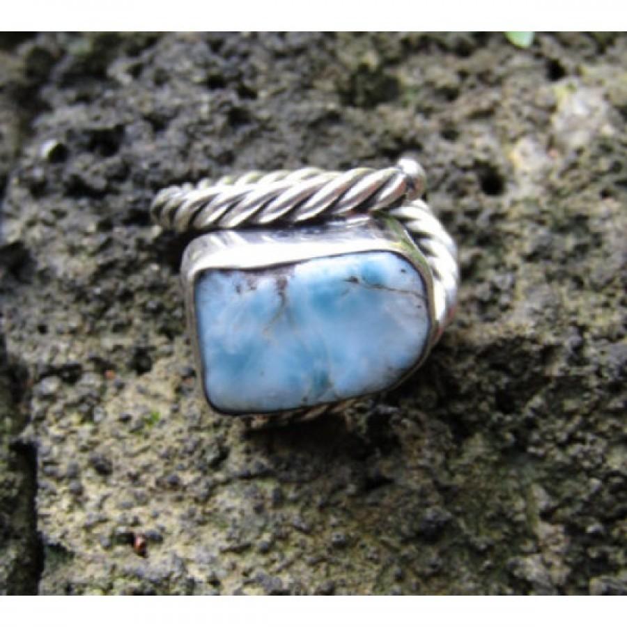 Cincin perak motif simpel batu turquoise 100275