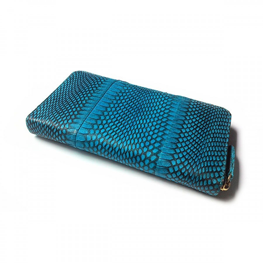 Dompet Wanita Kulit Asli Ular Cobra Model Single Zipper Warna Biru Tas Tangan Birudompet Handbags