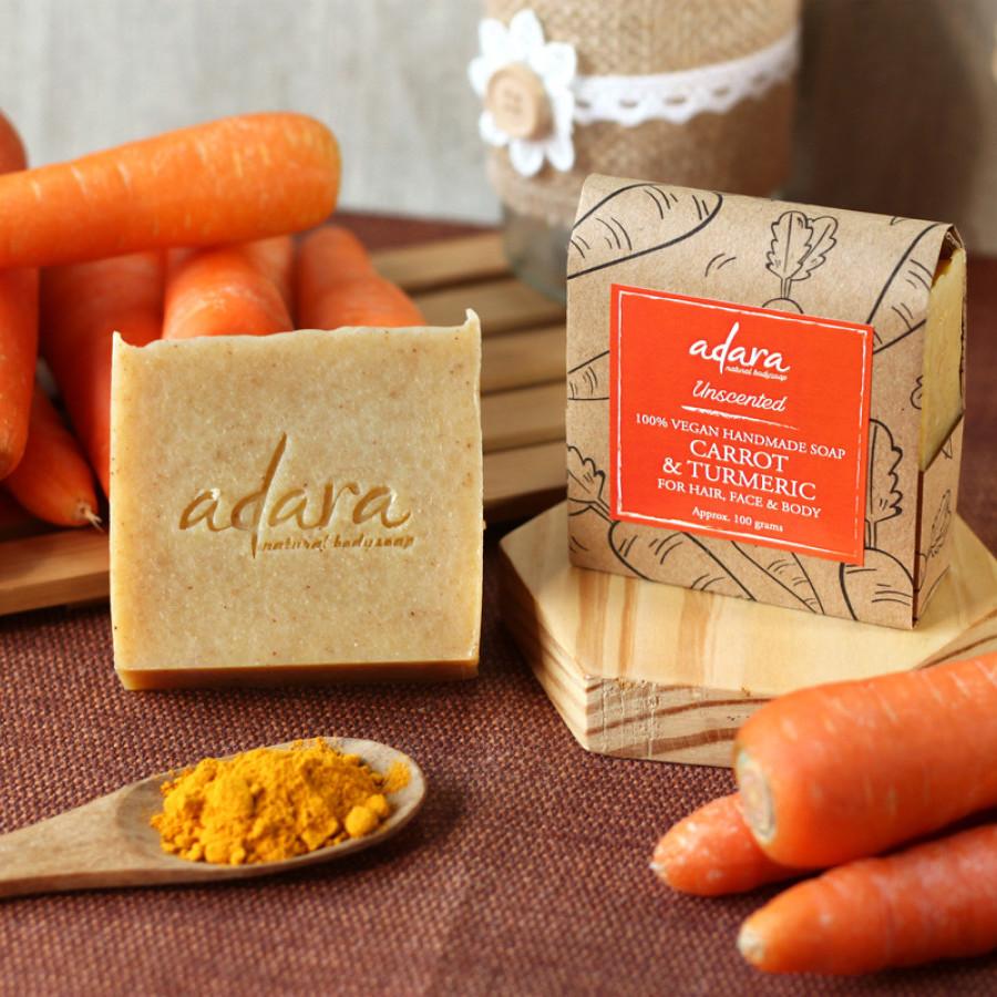 Adara Organic Handmade Carrot & Turmeric Soap - Unscented  2 Ulasan 100%  Transaksi Sukses Dari  4  Transaksi