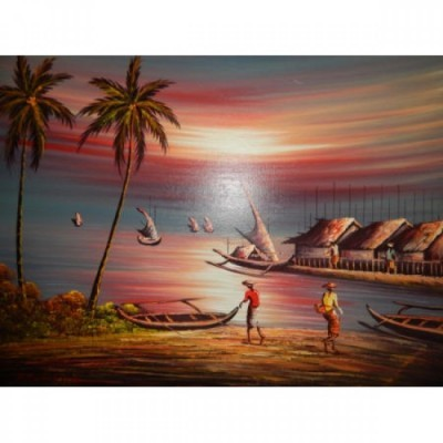 lukisan-tradisional-motif-matahari-terbenam-100081