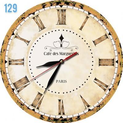 129 Natural Dekorasi Jam Dinding Motif Cafe Paris Coklat 60982d0763