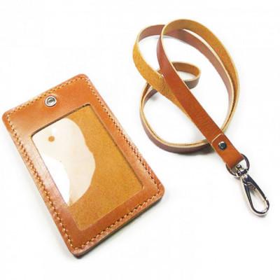 name-tag-id-kulit-asli-sapi-warna-tan-garansi-1-tahun-tali-id-card.-gantungan-id-card-