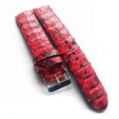 tali-jam-tangan-kulit-asli-ular-phyton-warna-merah-ukuran-22-mm-leather-strap.-strap-watch.-tali-jam-kulit-