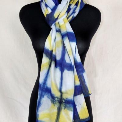 scarf-voal-shibori-biru-kuning