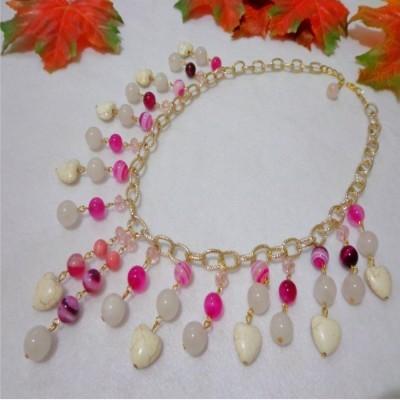 kalung-b038-batu-rose-quartz-stripe-agate-turquois
