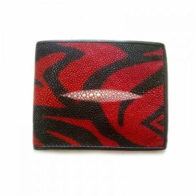 dompet-pria-kulit-asli-ikan-pari-model-bifold-warna-corak-hitam-merah
