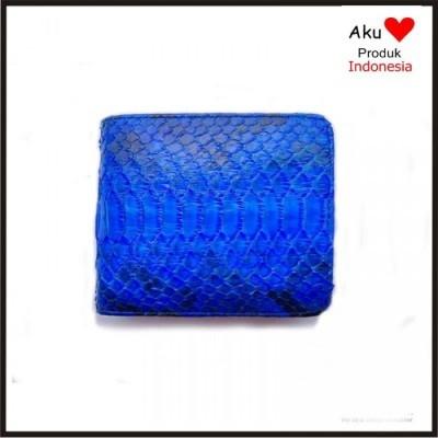 dompet-pria-kulit-asli-ular-phyton-warna-biru-model-bifold