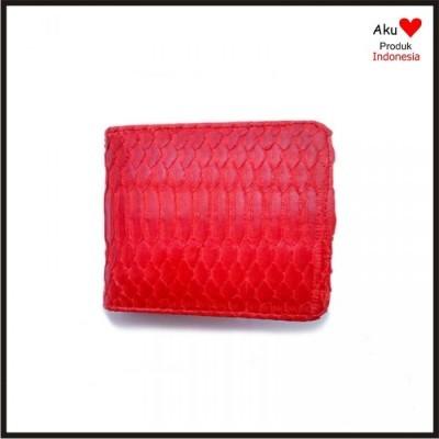 dompet-pria-kulit-asli-ular-phyton-warna-merah-model-bifold