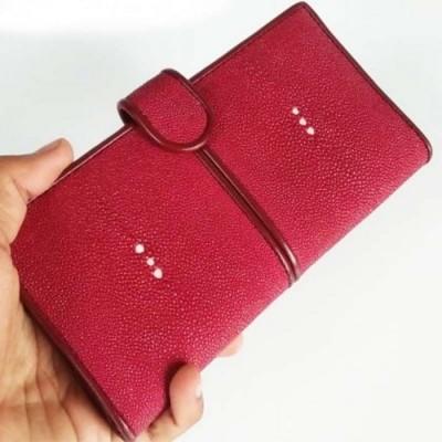 dompet-wanita-kulit-asli-ikan-pari-model-klip-warna-merah-maron