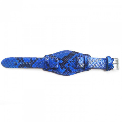 tali-jam-tangan-kulit-asli-ular-phyton-ukuran-22-mm-warna-biru-plus-alas-kulit-garansi-1-tahun-strap-jam.-strap-kulit