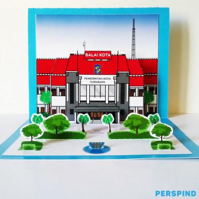 pop-up-3d-postcard-gedung-balai-kota-surabaya