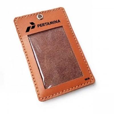 name-tag-id-kulit-asli-logo-pertamina-warna-tan-tali-id-card-